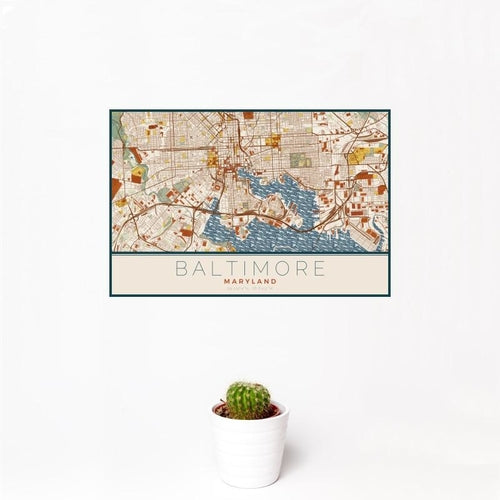 Baltimore - Maryland Map Print in Woodblock