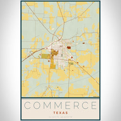 Commerce - Texas Map Print in Woodblock
