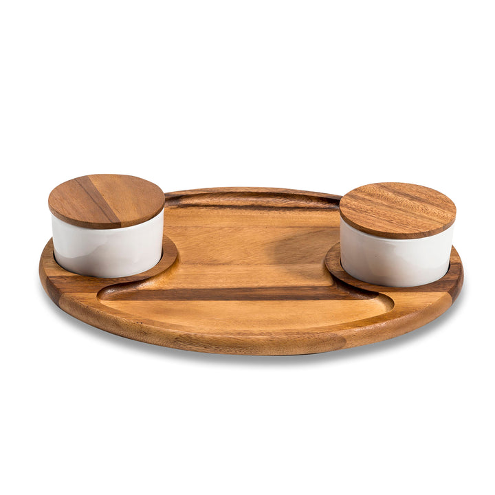 Charcuterie/ Serving Tray w/ 2 ceramic bowls w/ lids