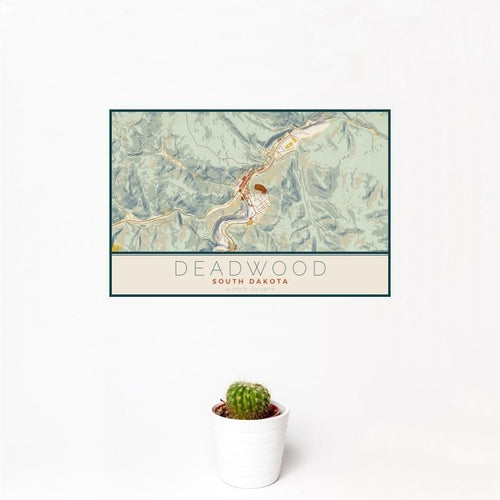Deadwood - South Dakota Map Print in Woodblock