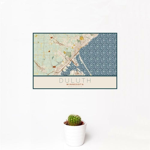 Duluth - Minnesota Map Print in Woodblock