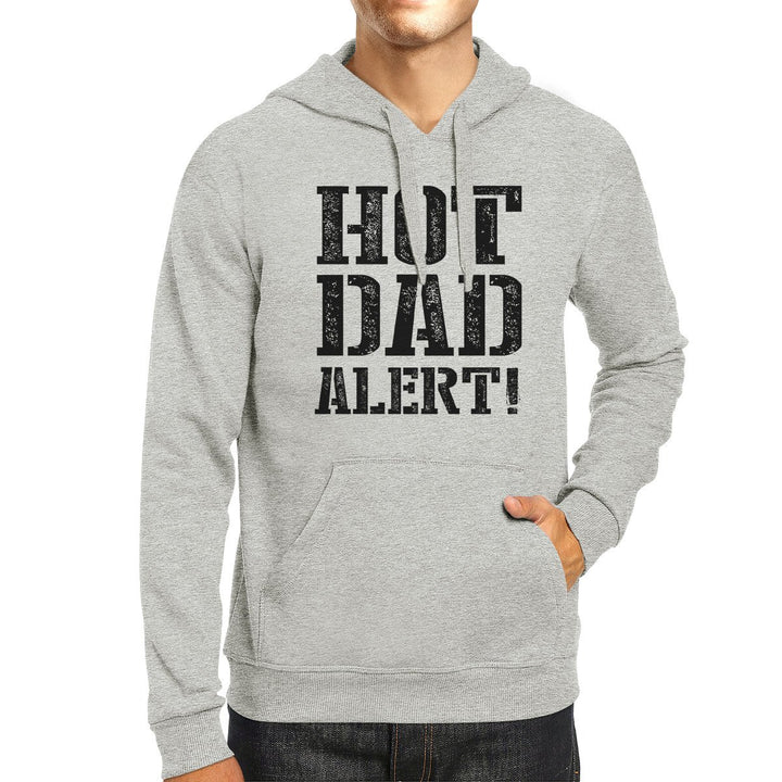 Hot Dad Alert Unisex Grey Hoodie Cute Fathers Day