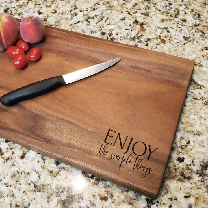 Enjoy The Simple Things - Engraved Walnut Cutting Board (11
