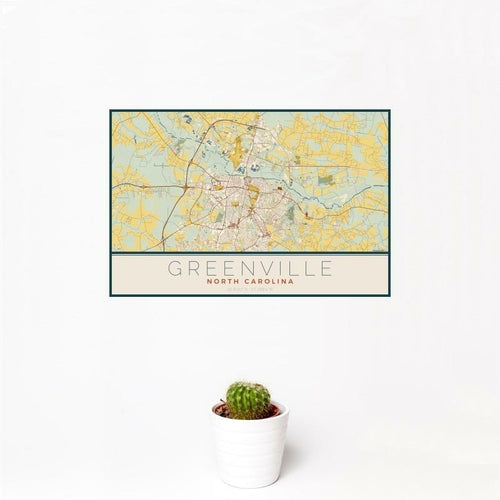 Greenville - North Carolina Map Print in Woodblock
