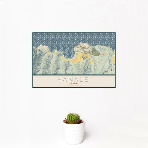 Hanalei - Hawaii Map Print in Woodblock