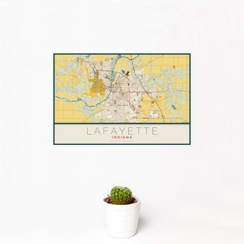 Lafayette - Indiana Map Print in Woodblock