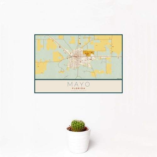 Mayo - Florida Map Print in Woodblock