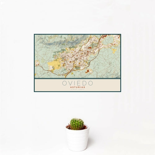 Oviedo - Asturias Map Print in Woodblock