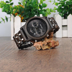 Wood Watch Men Business Watches Chronograph Military Quartz Wristwatch