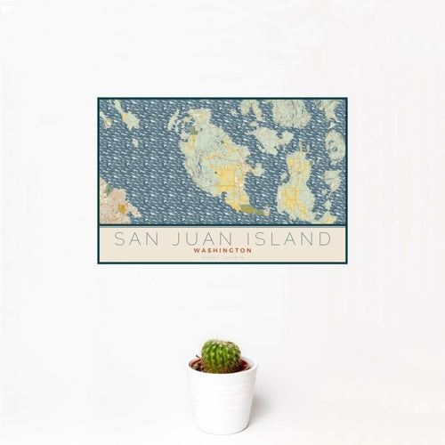 San Juan Island - Washington Map Print in Woodblock