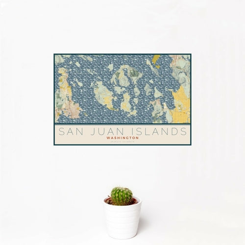 San Juan Islands - Washington Map Print in Woodblock