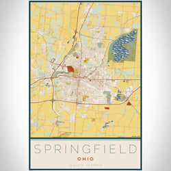 Springfield - Ohio Map Print in Woodblock