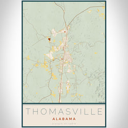 Thomasville - Alabama Map Print in Woodblock