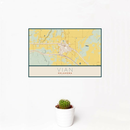 Vian - Oklahoma Map Print in Woodblock