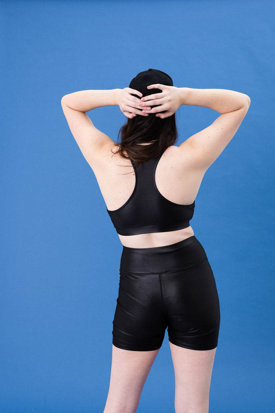 Racerback Sports Bra Black Shine