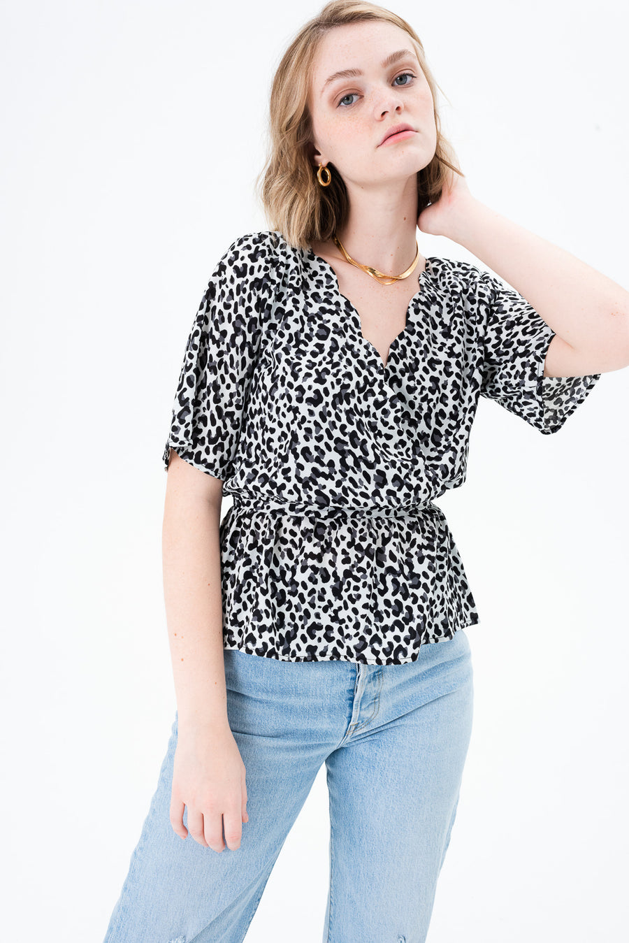 Una Crossover Scalloped Blouse
