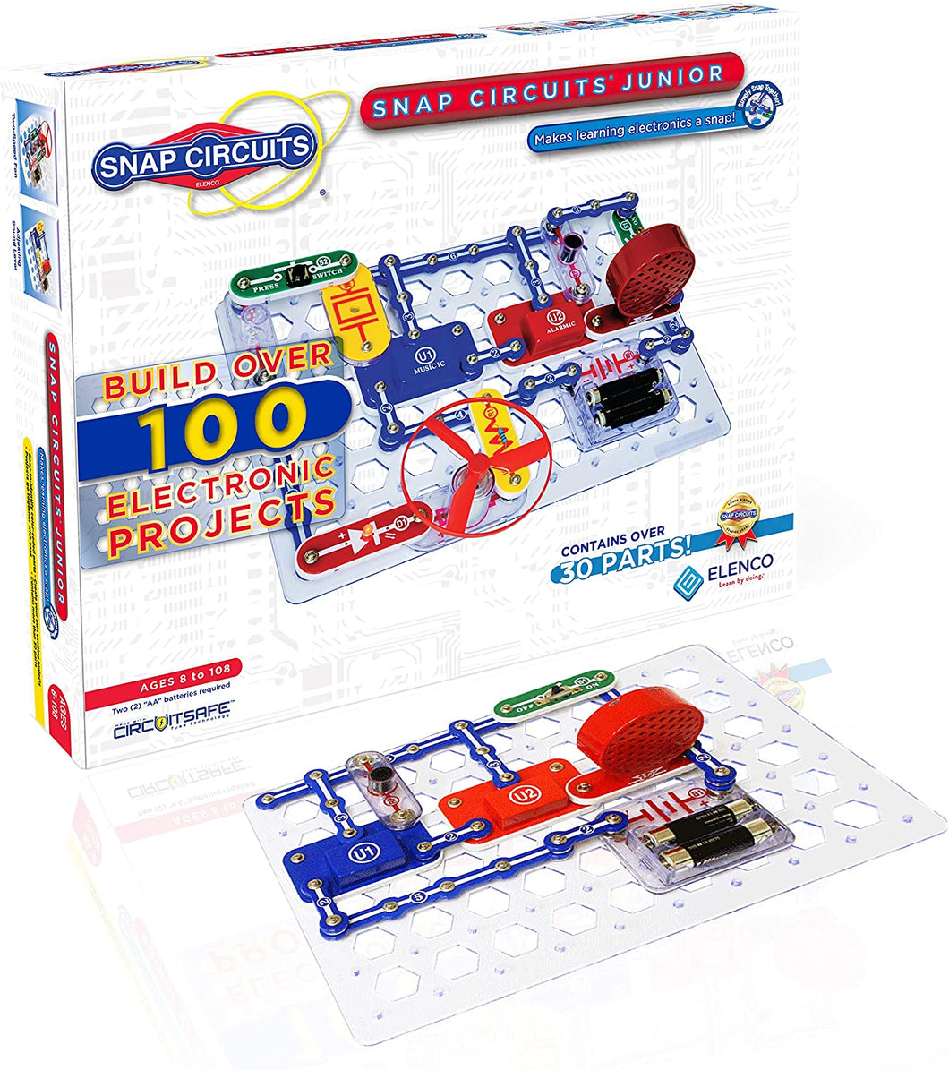Snap Circuits Jr.® - Enjoy 100 Amazing Projects | SC-100 by Elenco | Age 8+