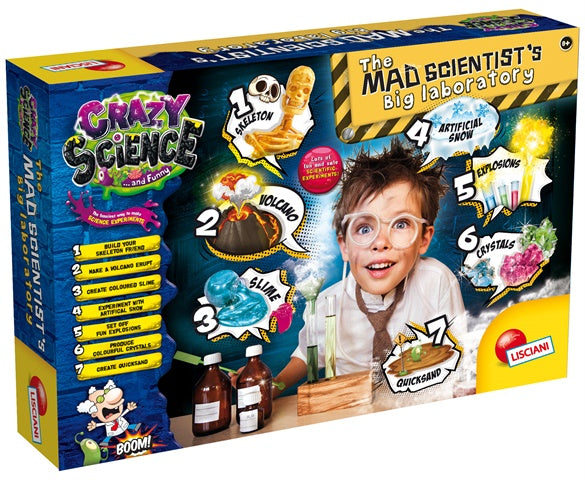 THE MAD SCIENTIST'S BIG LABORATORY - Educational Science kit, by Lisciani Crazy Science