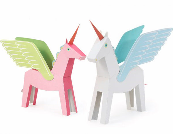 Pegacorn - Pink / White Blue - Paper Art Kit, by Pukaca | Age 6+