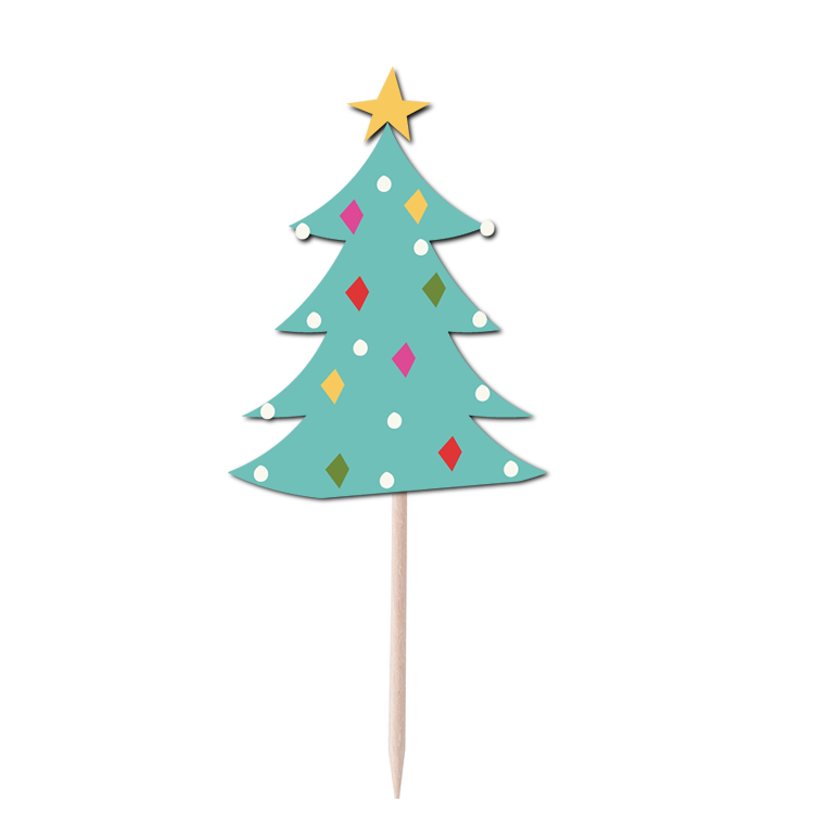 Christmas Tree Cupcake Topper Print & Cut Template