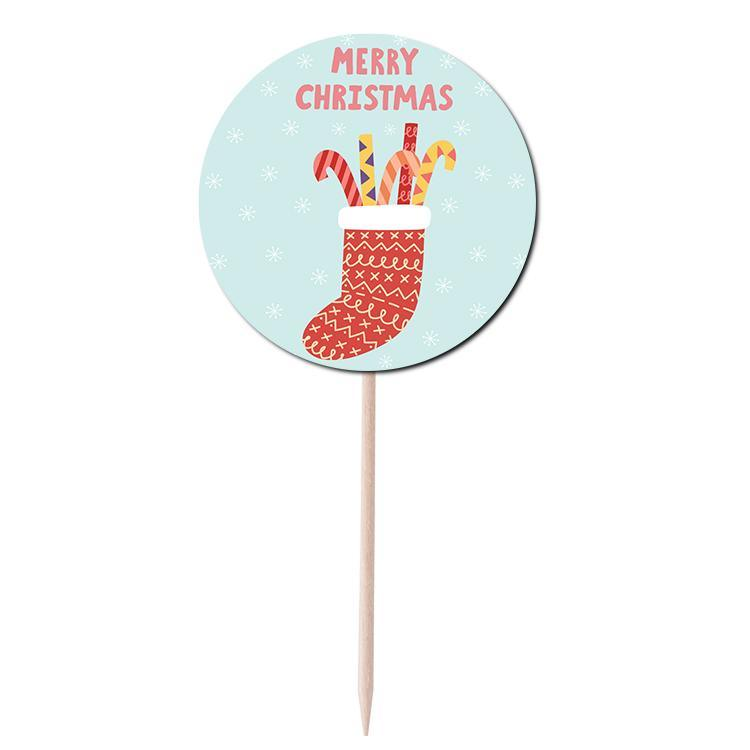 Merry Christmas Socks Cupcake Topper Print & Cut Template