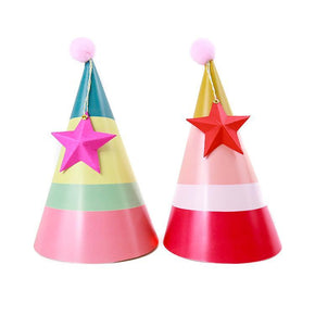 Party Hats with Star Print & Cut Template
