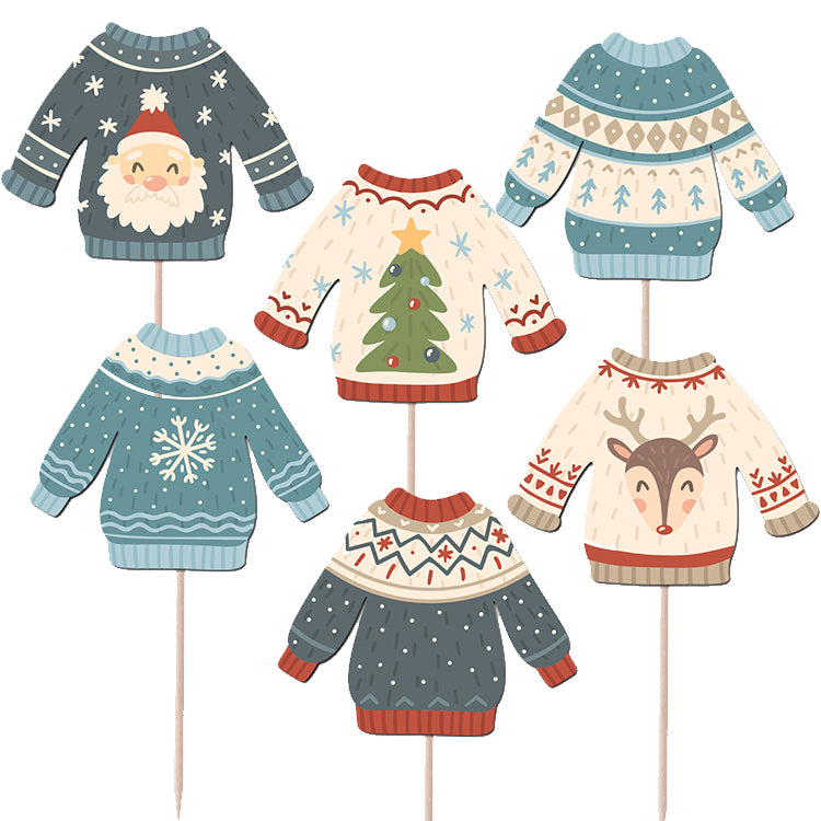 Ugly Sweater Cupcake Topper Print & Cut Template