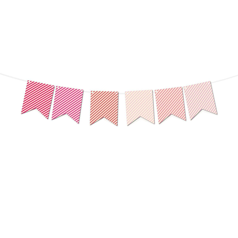 Pink Stripes Bunting Print and Cut Template