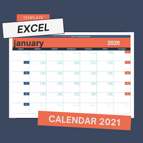 Blank Monthly Calendar Template - Excel