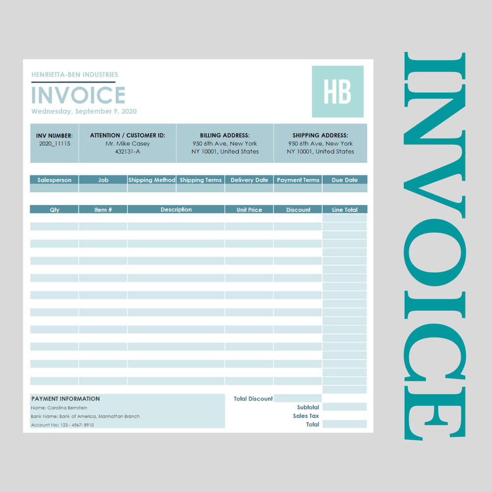 Invoice Template Excel with Discount Calculation