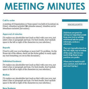 Meeting Minutes Template - MS Word