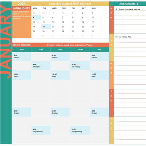 Excel Calendar Template for Students
