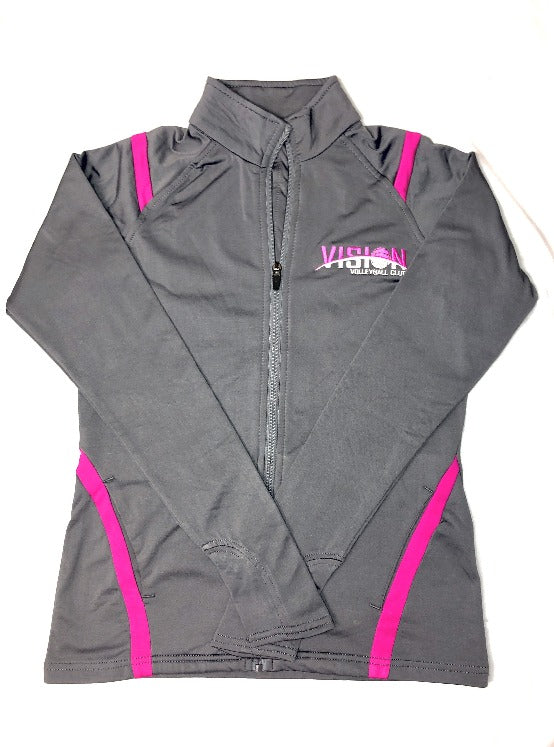 Pink/Grey Women's Retro Zip-Up