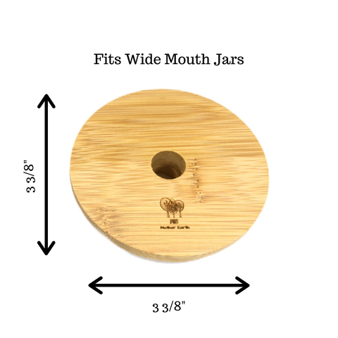 Bamboo Mason Jar Lids - For your glass straws! Wide Mouth