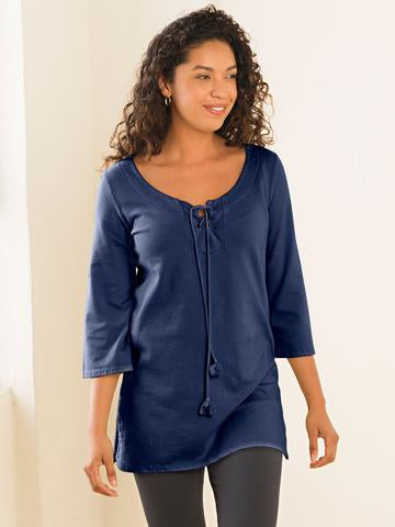 Lace Up Tunic - Organic Boutique