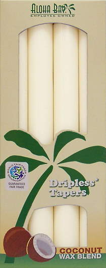Coconut Wax Taper Candle (4) Ivory