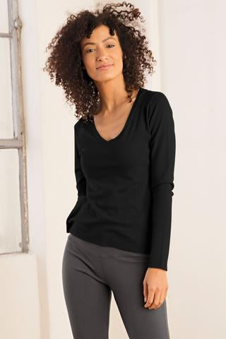 Cotton Rib V Neck - Organic Boutique