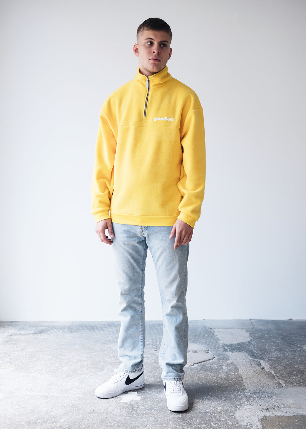 OFFICIAL FLEECE HALF ZIP CREWNECK YLW