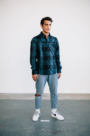 FLANNEL BUTTON DOWN SHIRT NVY