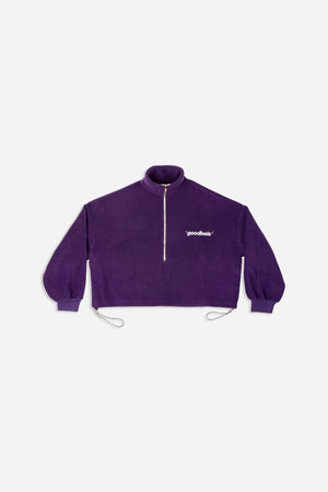 OFF FLEECE CROP HALFZIP PURPLE
