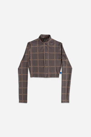 CLASSIC TRADEMARK ALL OVER TURTLENECK CROP LONGSLEEVE BRWN