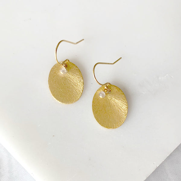 Brushed gold disk earrings with moonstone