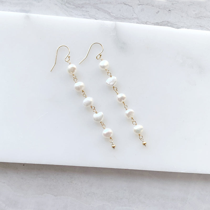 Pearl Dangle Earrings in Gold
