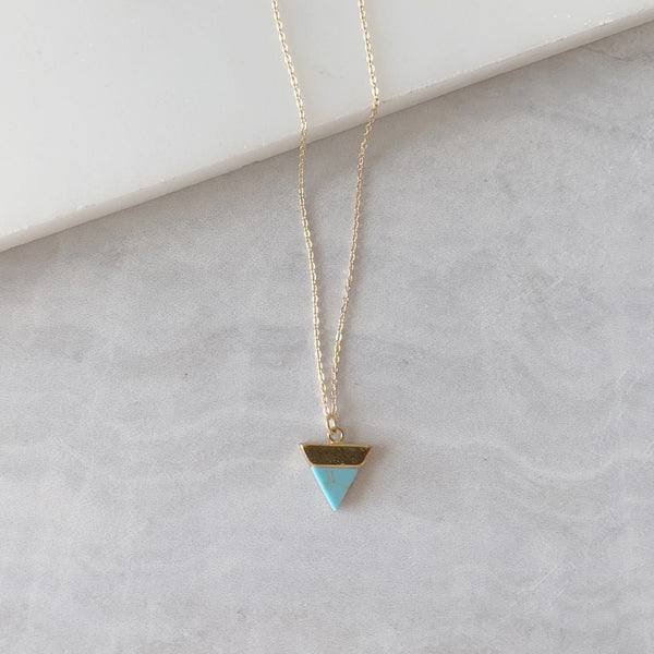 Triangle Pendant Necklace with Tuquoise Howlite