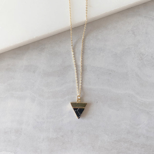 Triangle Pendant Necklace with Black Howlite