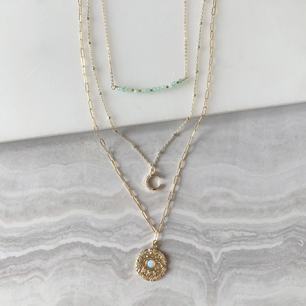 Beaded Bar and Evil Eye Layering Necklace Set in Gold