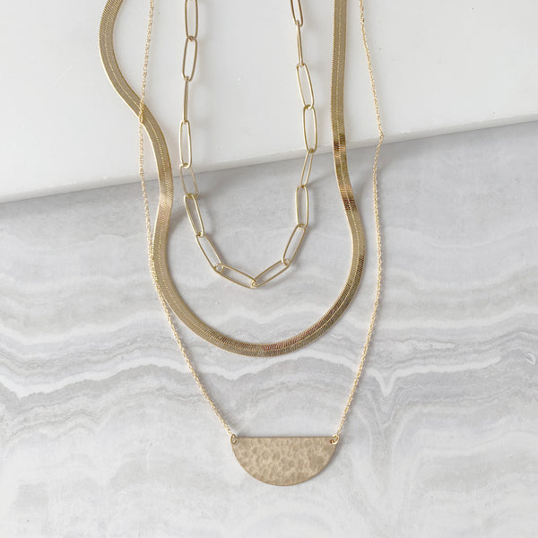 Half Moon Link Chain Layering Necklace Set in Gold