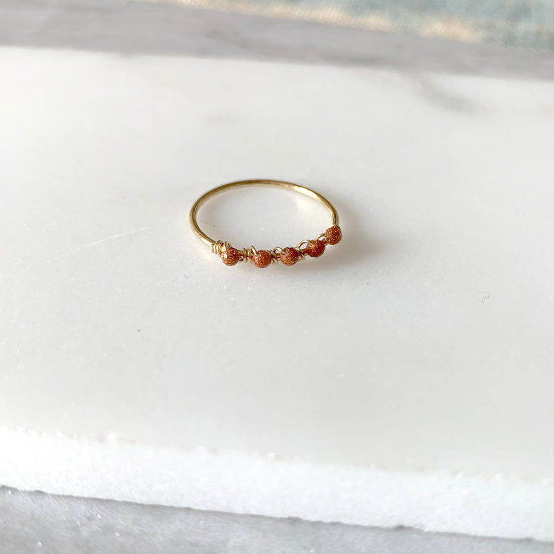 Beaded Wire Wrap Ring with Goldstone
