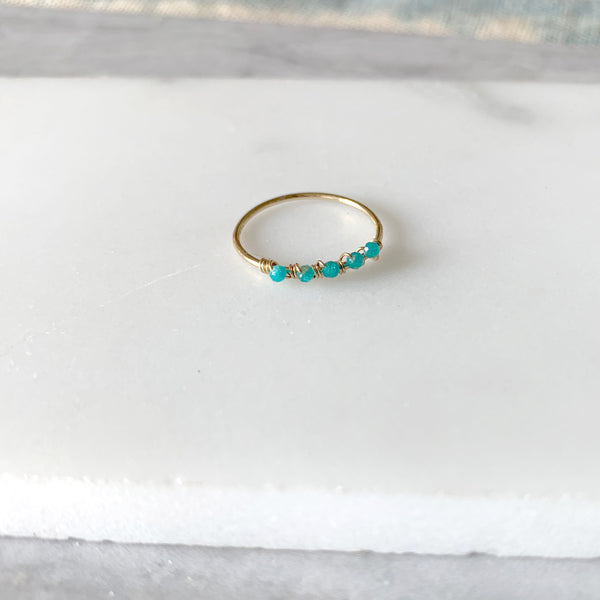 Beaded Wire Wrap Ring with Amazonite