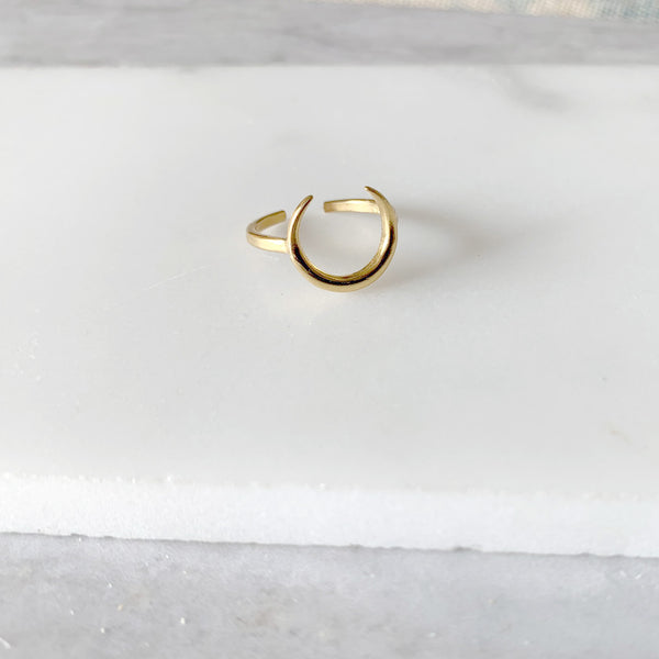 Crescent Moon Ring in Gold